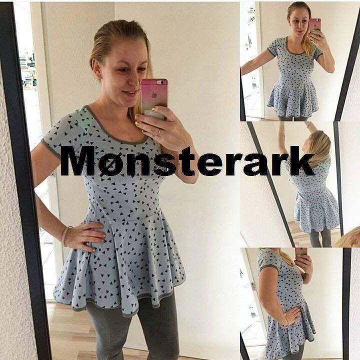 FORHÅNDSBESTILLING Mønsterark Peplum tunic with a twist adult size 34-54