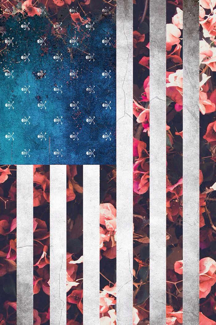 Skull Floral Flag Wallpaper American Flag Wallpaper S8