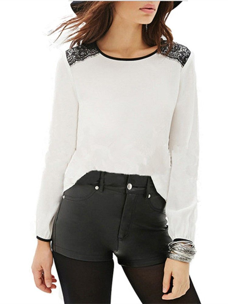 Casual Loose Long Sleeved Crew Neck Chiffon T-shirt