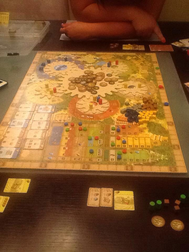 3 player game of TZolk'in from last weekend Board games