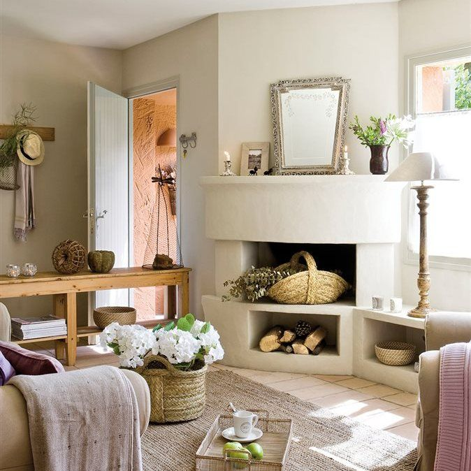 30 salones peque os y confortables chimeneas de obra - Comedores con chimenea ...