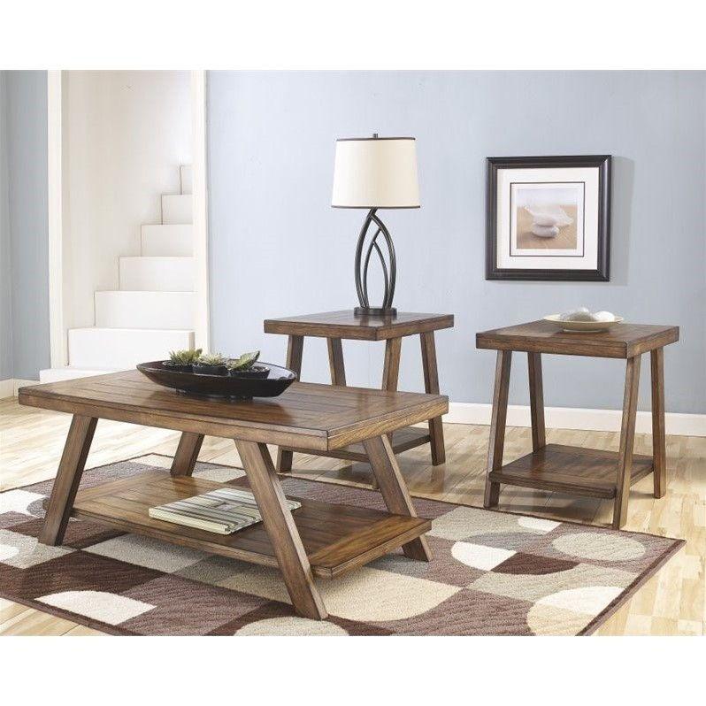 Ashley Furniture Bradley 3 Piece Coffee Table Set In Burnished
