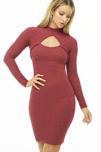 ad50f648db3 Cutout Mock Neck Dress