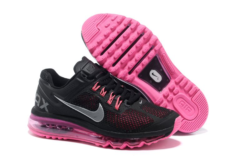 online retailer 81a92 a14f0 Nike Air Max 2013 Black Metallic Silver Dark Grey Fusion Pink Womens  Running Shoes