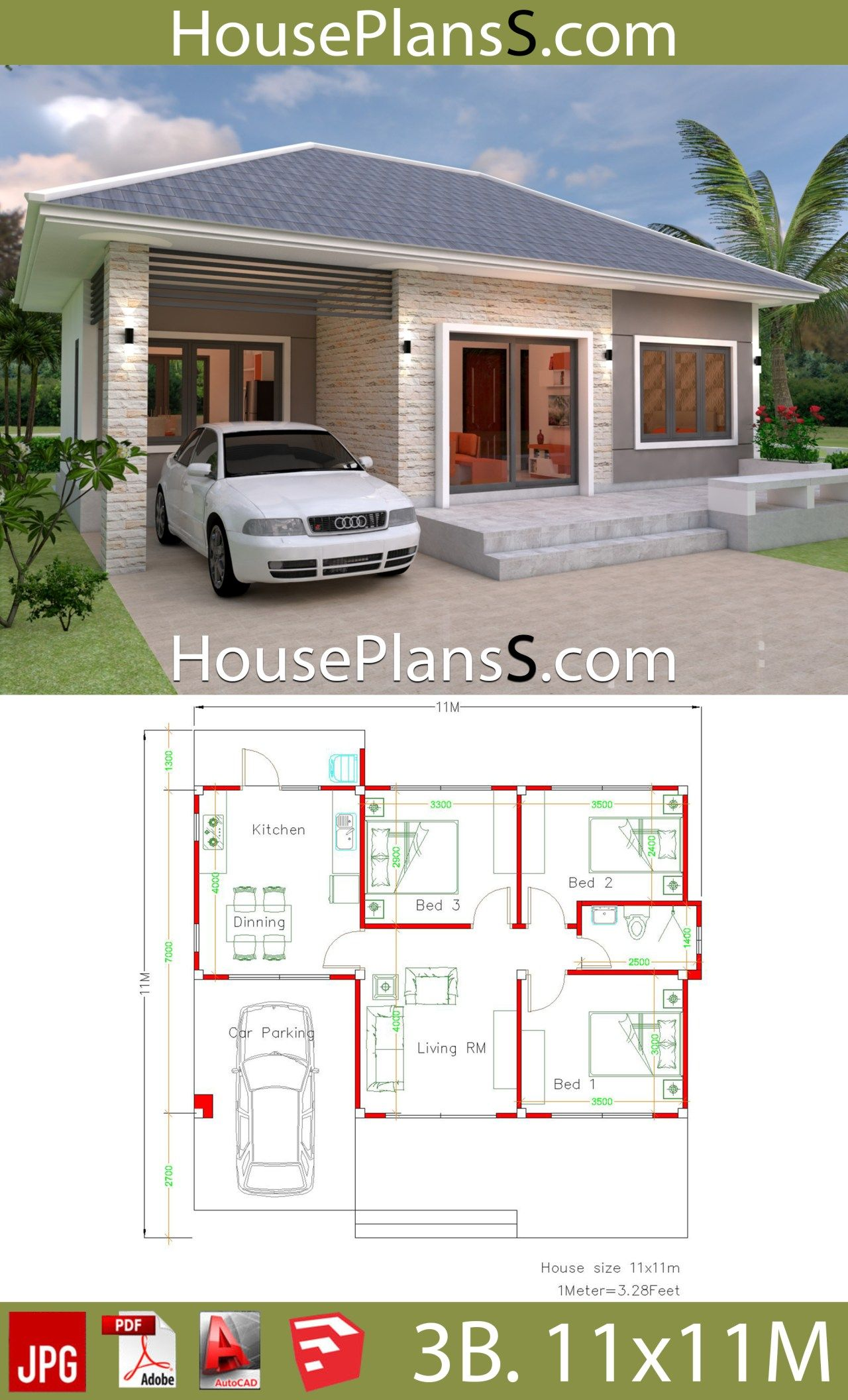 Simple House Design Plans 11x11 With 3 Bedrooms Full Plans House Plans 3d Small House Design Plans Simple House House Layout Plans