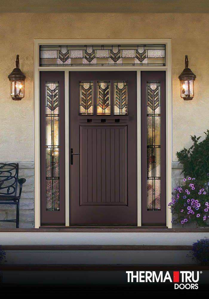 1 4 Lite Painted Fiberglass Exterior Door With Decorative Glass Therma Tru Fiberglass Entry Doors Fiberglass Exterior Doors Beautiful Doors