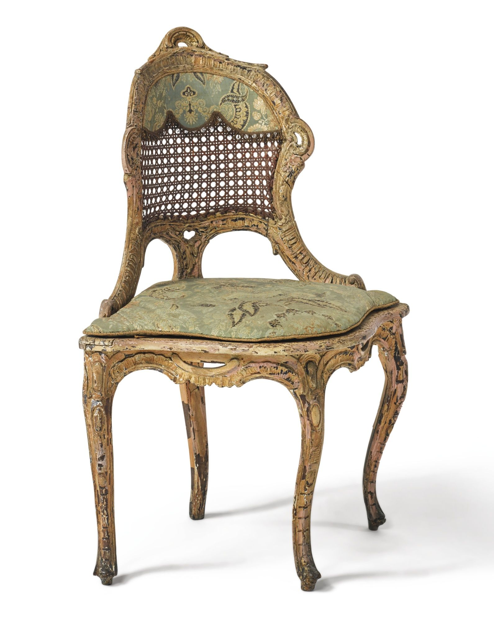 A NORTH ITALIAN ROCOCO POLYCHROME-PAINTED CORNER CHAIR POSSIBLY SOUTH  GERMAN, THIRD QUARTER 18TH C. - A NORTH ITALIAN ROCOCO POLYCHROME-PAINTED CORNER CHAIR POSSIBLY