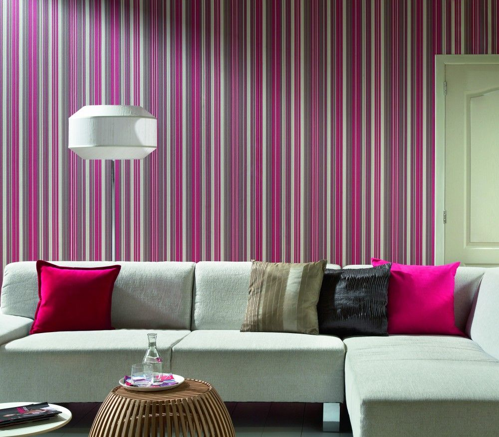 elegant strip wallpaper living room design | living room wallpaper