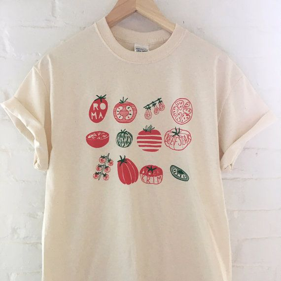 676ad751 Tomato Shirt Food Shirt Vegetable Shirt Garden Shirt by andMorgan// a ton of  fruit n veggie shirts and totes here! ;)