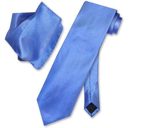Antonio Ricci NeckTie Handkerchief Blue w/ Light Blue Ribbed Lines Neck Tie Set