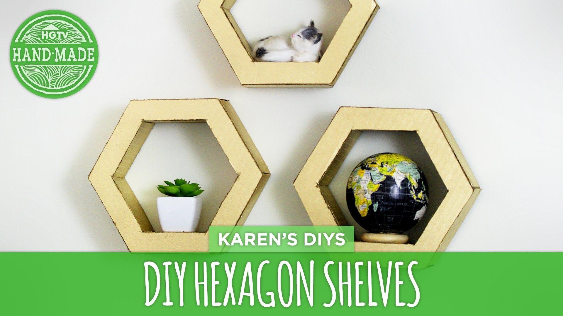 DIY Hexagon Shelves from Cardboard - HGTV Handmade | Hgtv, Shelves ...