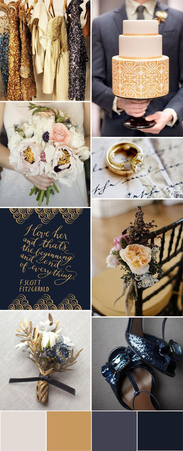 Blue and gold wedding decor   Wedding Trends u  Sparkly Gold Glitter Wedding Ideas