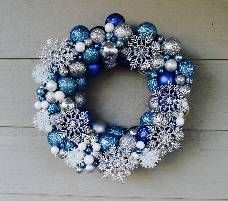 Blue White Silver Christmas Ball Wreath Ball Ornament S Wreath Winter Wonderland Wreath Orname Ball Wreath Diy Christmas Ball Silver Christmas Decorations