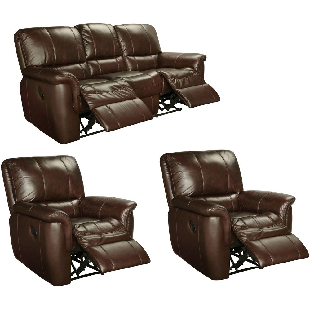 Ethan Chestnut Brown Leather Reclining Sofa And Two Recliner  ~ Payton Power Reclining Sofa