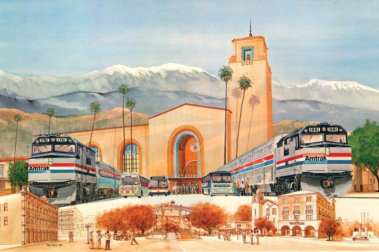 1981 Amtrak Wall Calendar Los Angeles Union Passenger Terminal Highlights Amtrak S Double Salute To Intermodal Rail Bu Amtrak Train Drawing Historical Sites
