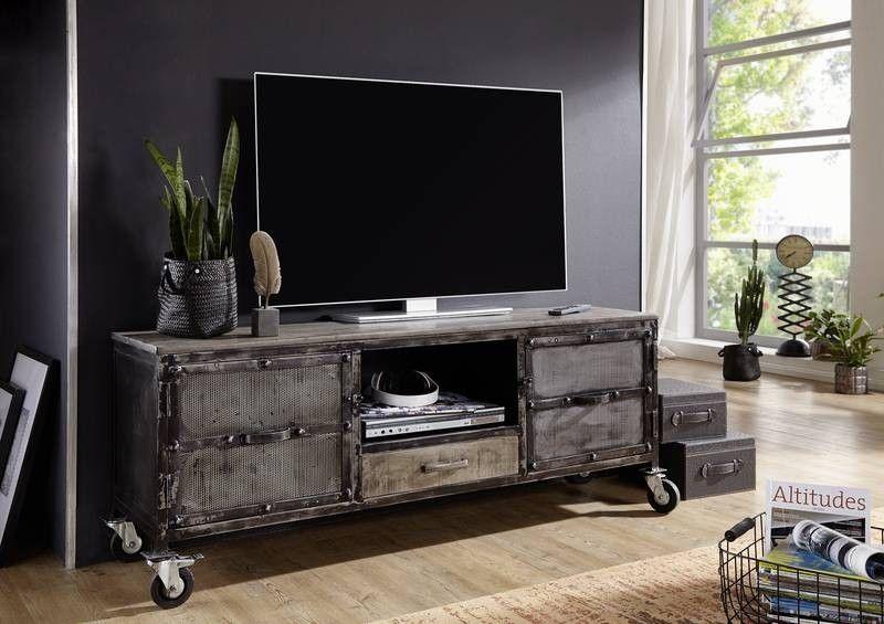 TV-Board Mango 150x40x60 natur lackiert HEAVY INDUSTRY #119 Jetzt - wohnzimmer tv möbel