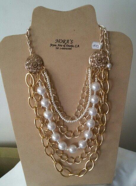 536985b56344 Hermoso Collar Largo con perlas y fantasía