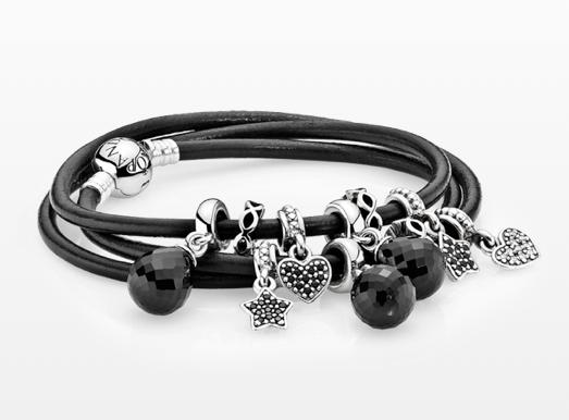 Black Leather Bracelet With Dangle