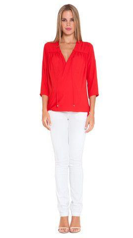 560853d837d15 Olian Maternity Eliana 3/4 sleeve V-Neck chiffon wrap nursing top Red