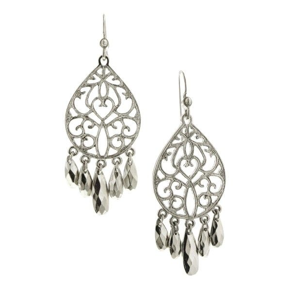 "Charm them all with these vintage inspired chandelier earrings! A silver tone teardrop design is stamped with a romantic filigree pattern and given a matte finish. To add contrast, five briolette cut metallic silver beads dangle from the bottom and keep the eye dancing. Measuring 2 1/2"" long, these chandelier earrings are a bold style in a classic color, so every type of fashionista can get in on this hot look!"