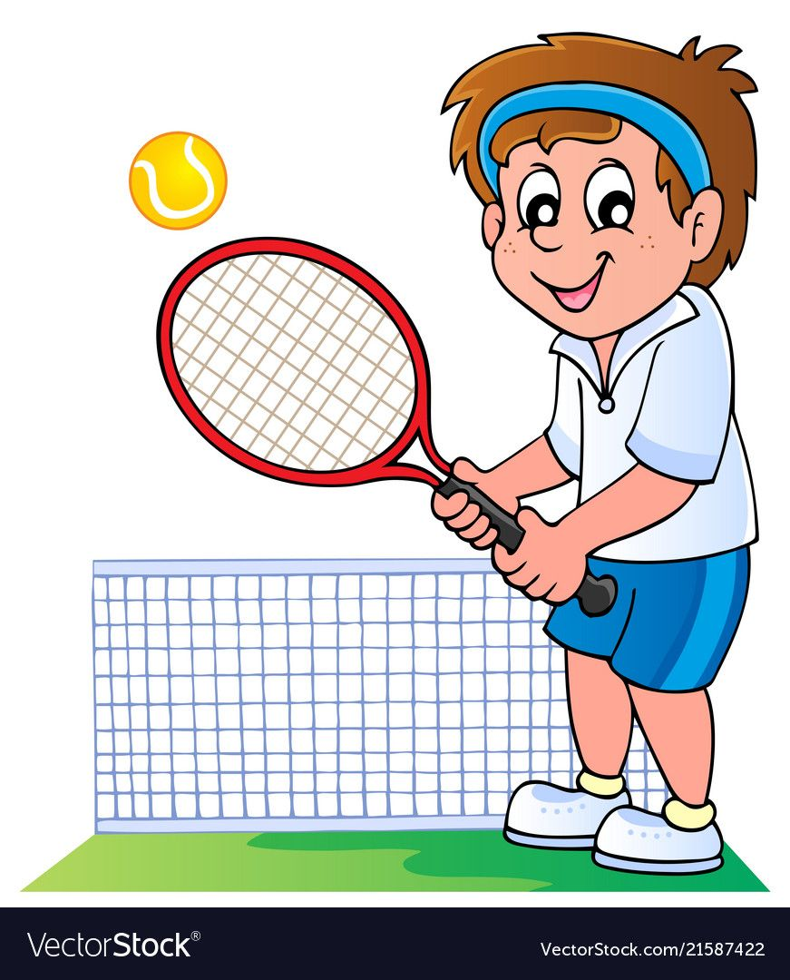 Cartoon Tennis Player Vector Image On Vectorstock Tennis Players Tennis Manchester United Gifts