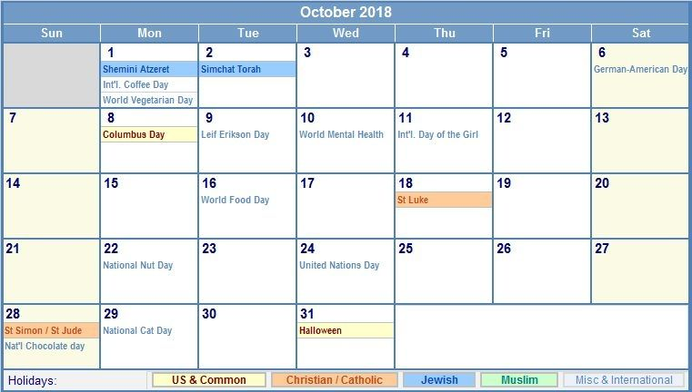 Printable October 2019 Calendar With Holidays Template Notes