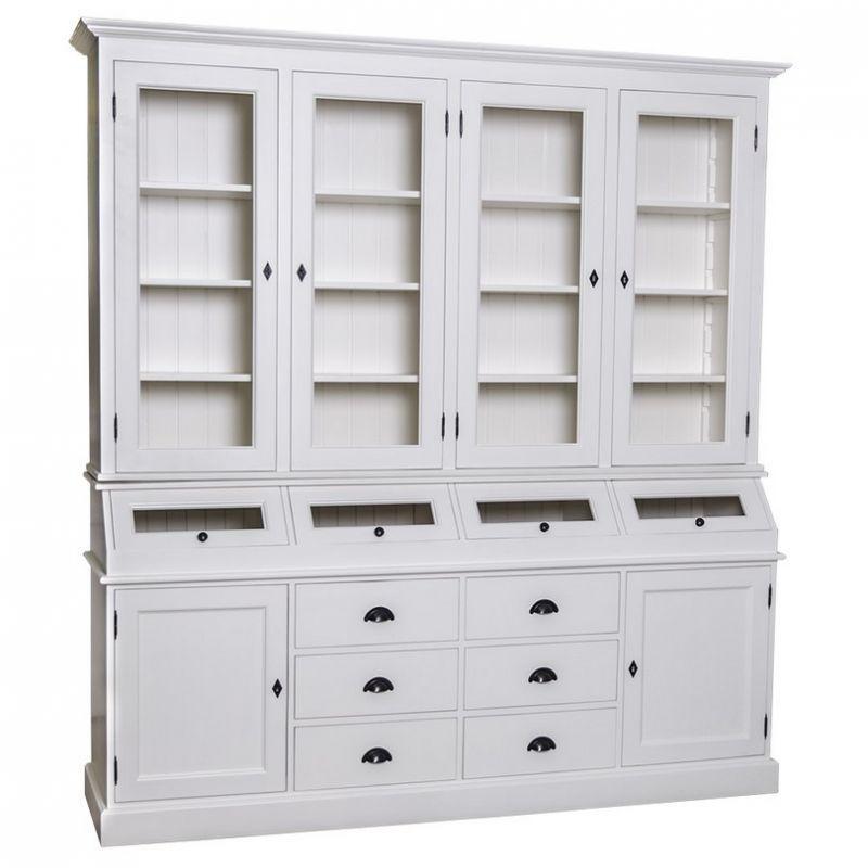 Buffetschrank Weiß, Anrichte, Wohnzimmerschrank, Kippfächer, Schubladen,  Esszimmer, Küche, Landhausstil