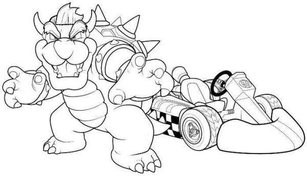 Bowser mario kart racing coloring pages coloring pages for Coloring pages of mario kart wii