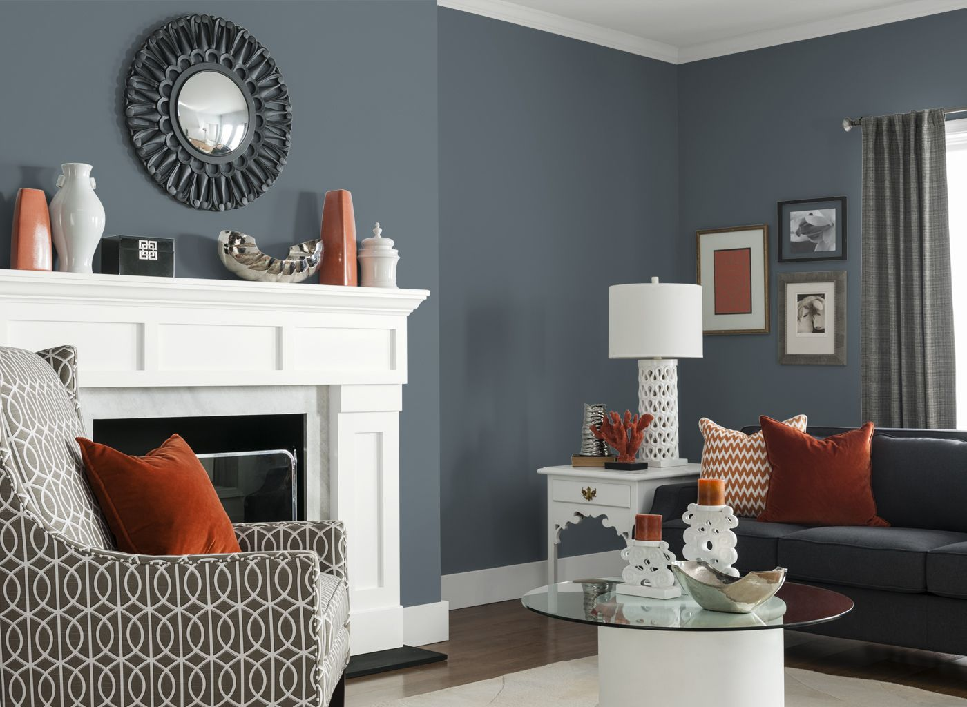 living room in glidden's french grey 70bg 19/071 | color therapy