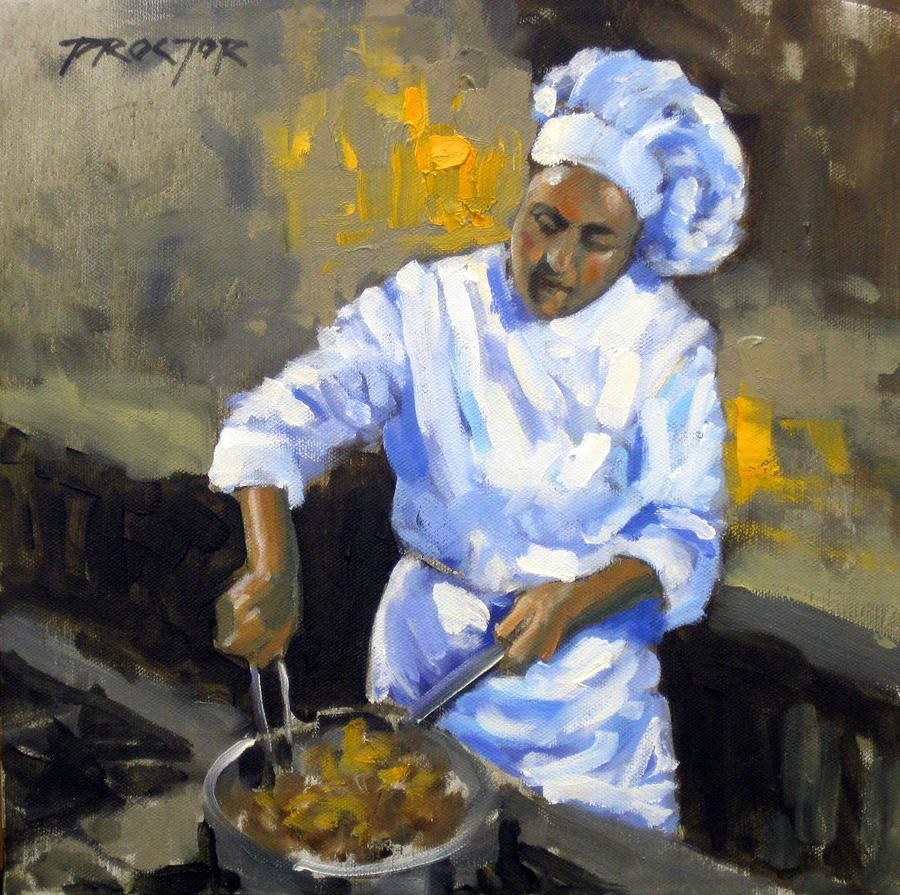 At the stove