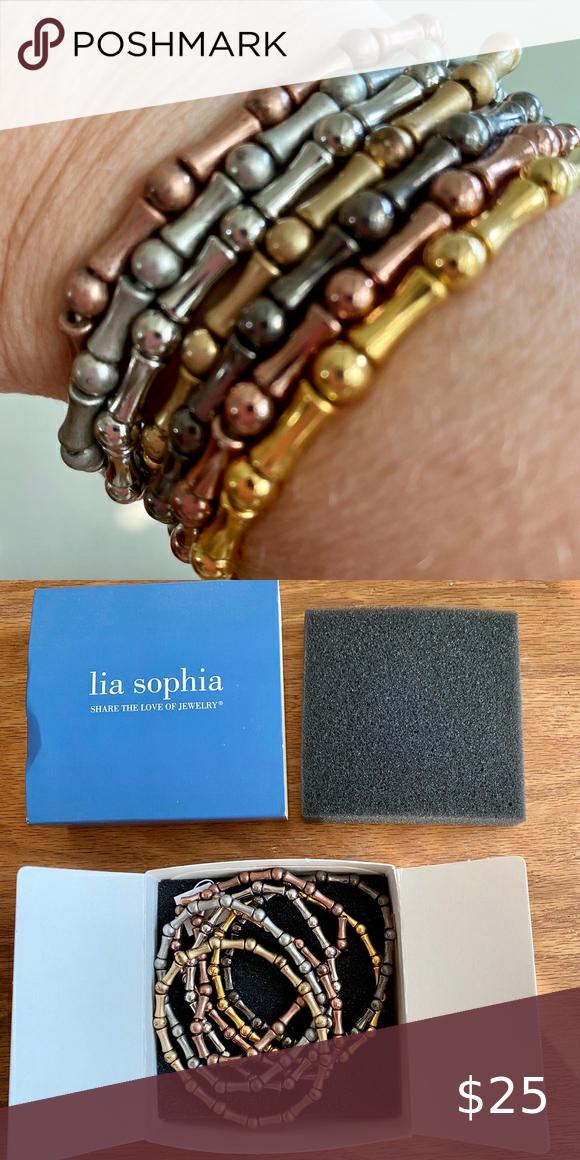 Lia Sophia bracelet set Set of stretchy bracelets in a mix of finishes, new in box Lia Sophia Jewelry Bracelets