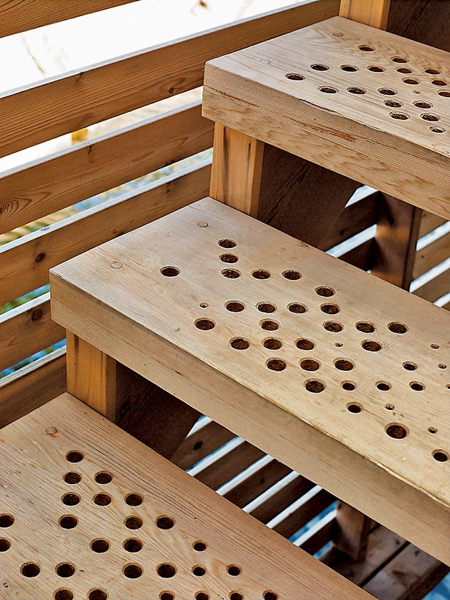 Creative/cheap Idea For Outdoor Stair Treads. Create Patterns Or Images  With Different Sizes Of Bits.