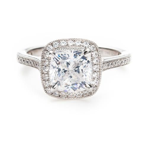 One of our best-selling styles is this vintage detailed halo engagement ring by Beverley K at Greenwich Jewelers