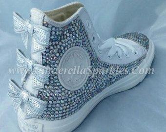 3b11cb466f0993 all orders Black Chuck Taylor High Top Crystal Rhinestone Converse Bridal  Romany…