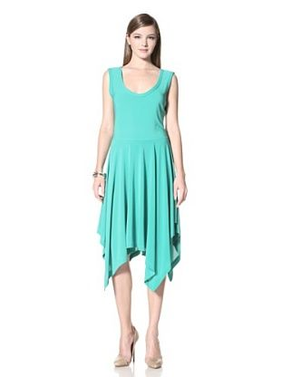 A.B.S. by Allen Schwartz Women's Scoop Neck Sleeveless Hanky Skirt Dress (Kelly Green)