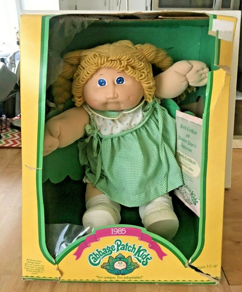 Vintage Cabbage Patch Kid Girl Wheat Pigtails W Box Papers 1985 3900 Cabbagepatchkids