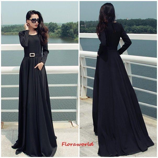 e5b5c889f77 Simple Black Long Sleeve Maxi Dress: Kaftan Abaya Dress Muslim Islam ...