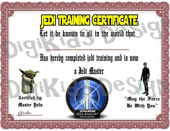 Star Wars Birthday Jedi Training Certificate by DigiKidsDesign - training certificate
