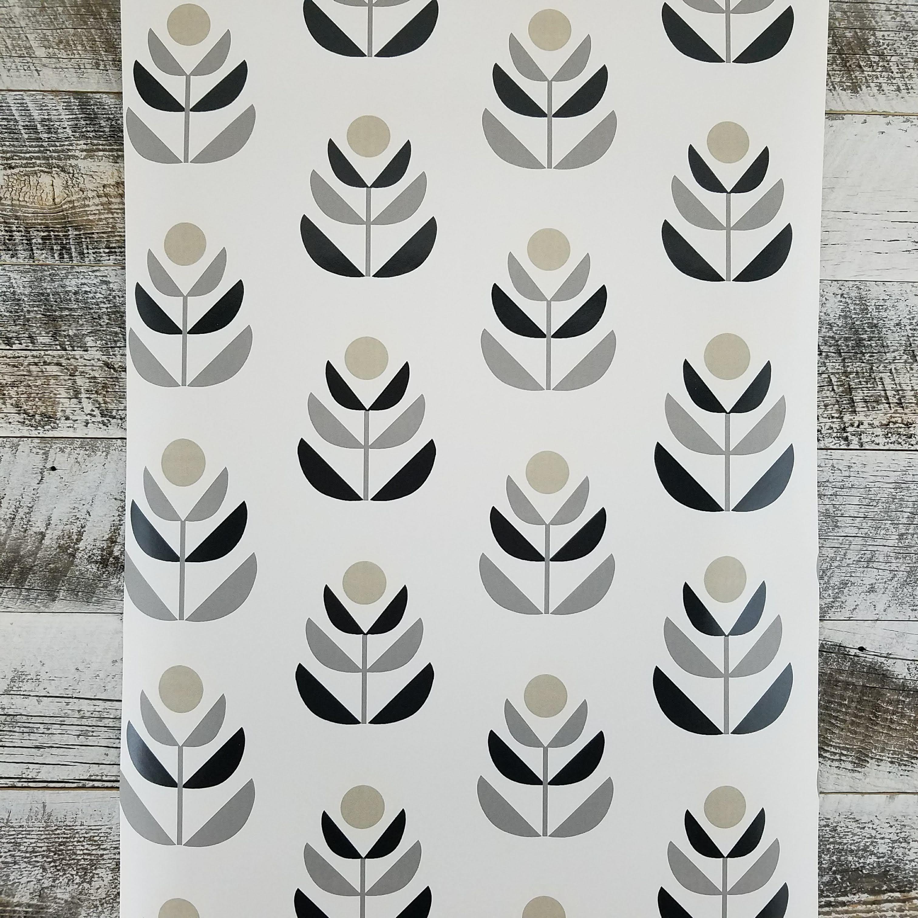 Oslo Black Geometric Tulip Wallpaper Contemporary
