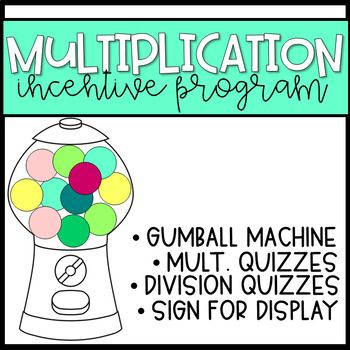 Photo of Multiplication & Division Gumball Machine Incentive Program with Quizzes