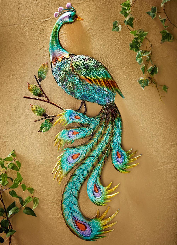 wanddeko pfau aus metall bilder dekoration gartendekoration hirschkopf silber wand wandobjekt groß