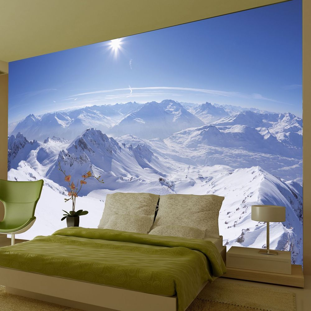 Mountain wallpaper wall mural x new room decor for Mural wallpaper