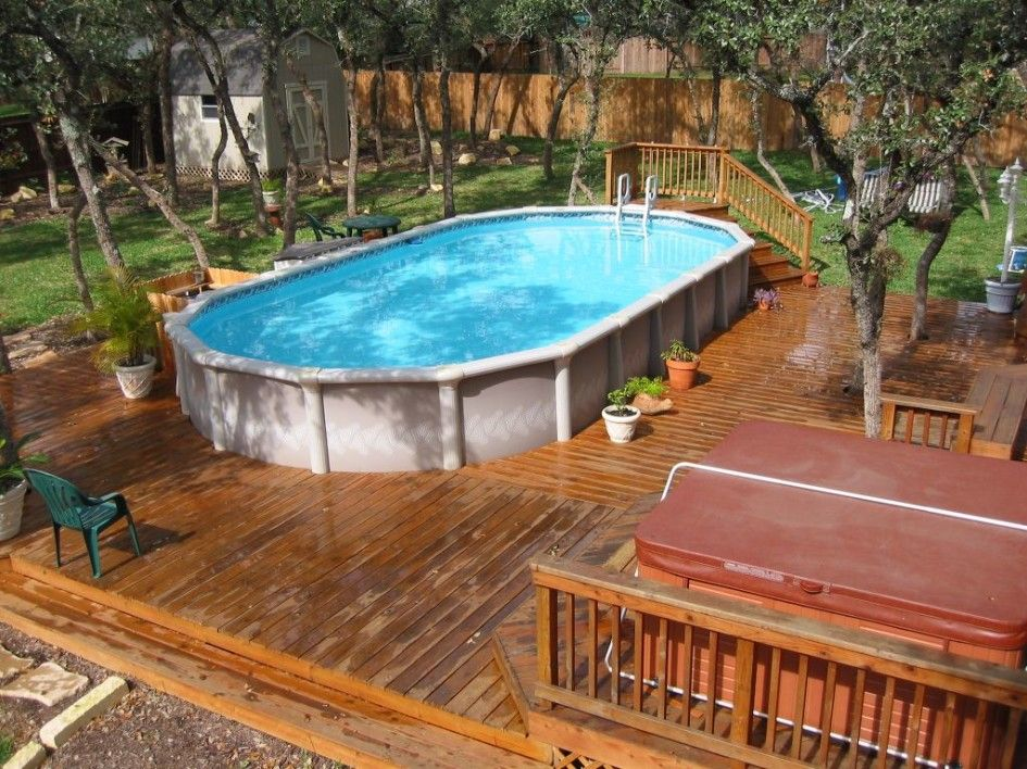 Above ground pool with deck and hot tub for backyard above for Above ground pool decks with hot tub