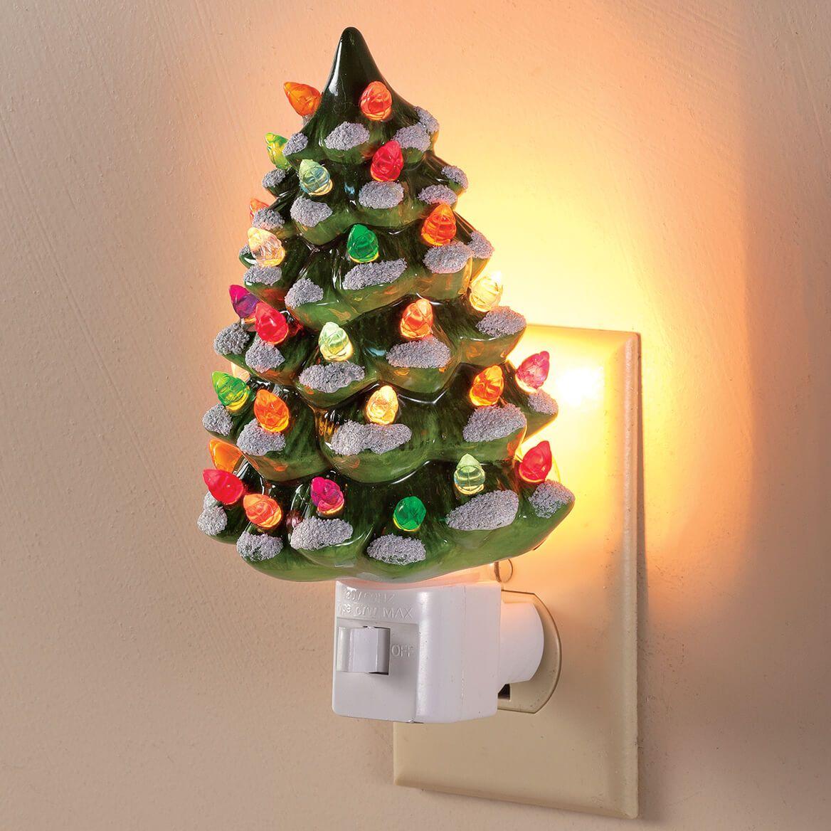 Green Snow Capped Ceramic Tree Night Light Miles Kimball Christmas Tree Night Light Vintage Inspired Christmas Tree Bubble Christmas Lights