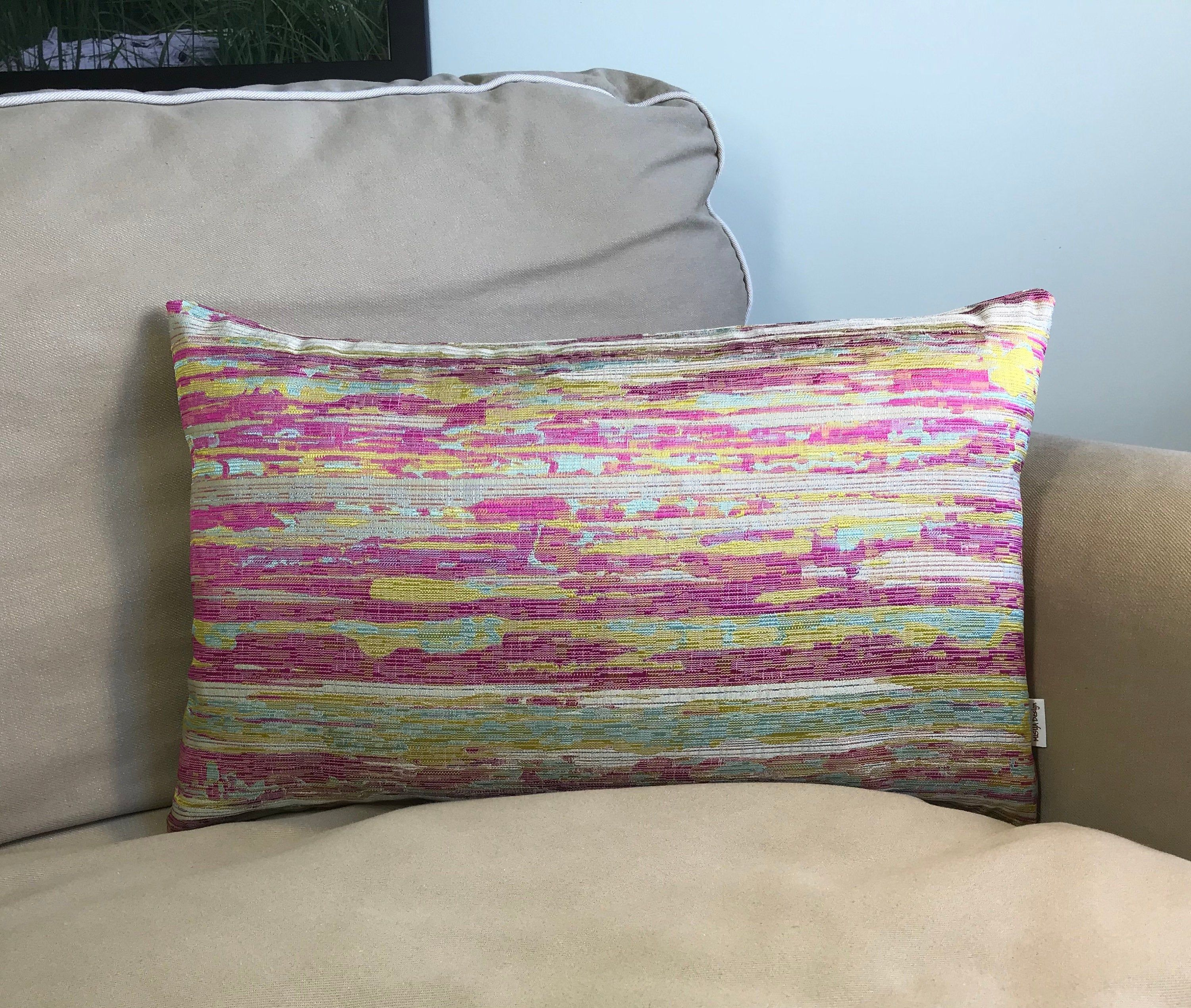 Pink And Golden Yellow Jacquard Two Sided Decorative Pillow Handmade Pillow Case Rectangle Pillow Cover Colourful Cushion Colourful Cushions Decorative Pillow Cases Handmade Pillows