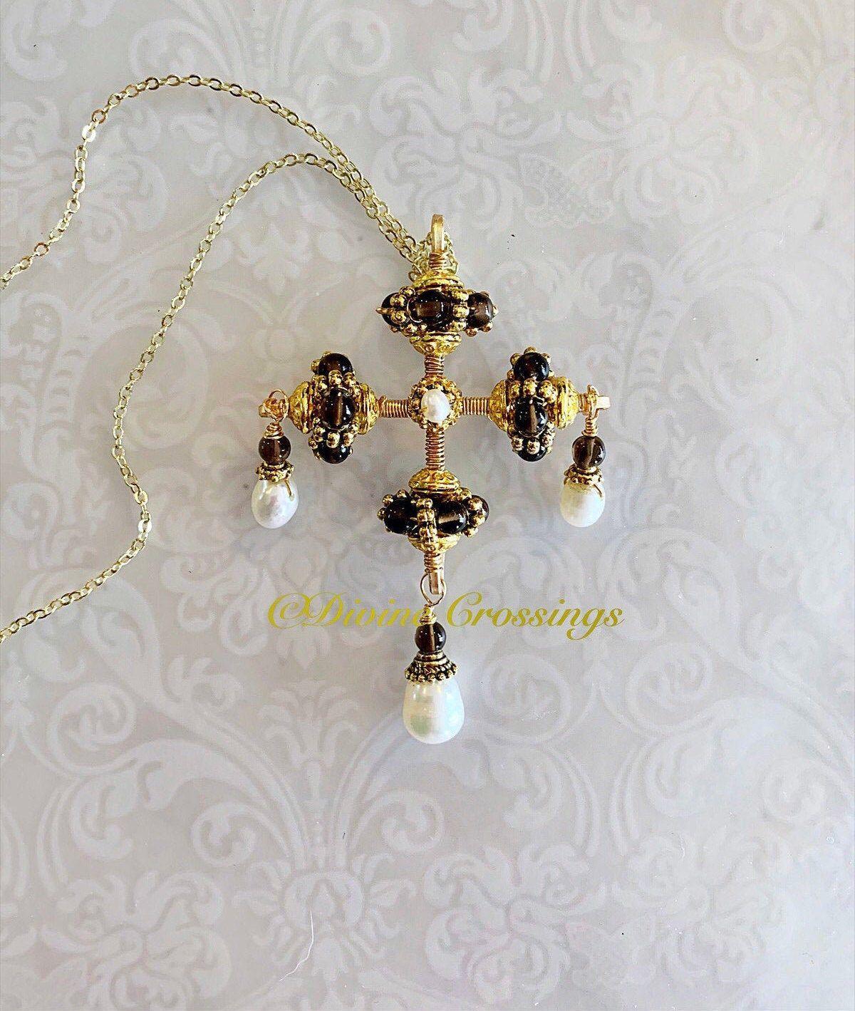 Renaissance opulence.Smokey quartz and pearl for shop: renaissance brown white cross,