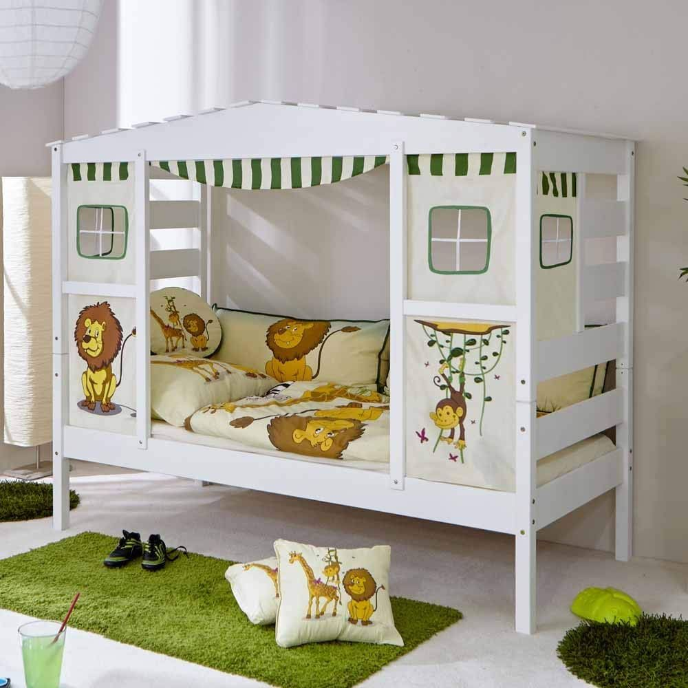 Pharao24 Jungen Kinderbett in Weiß Kiefer massiv Dschungel