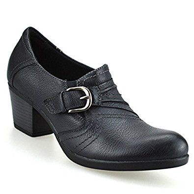 earth spirit womens leather casual mid heel court shoes