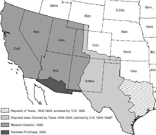 End Of Mexican American War Treaty Of Guadalupe Hidalgo Map Legends Of America