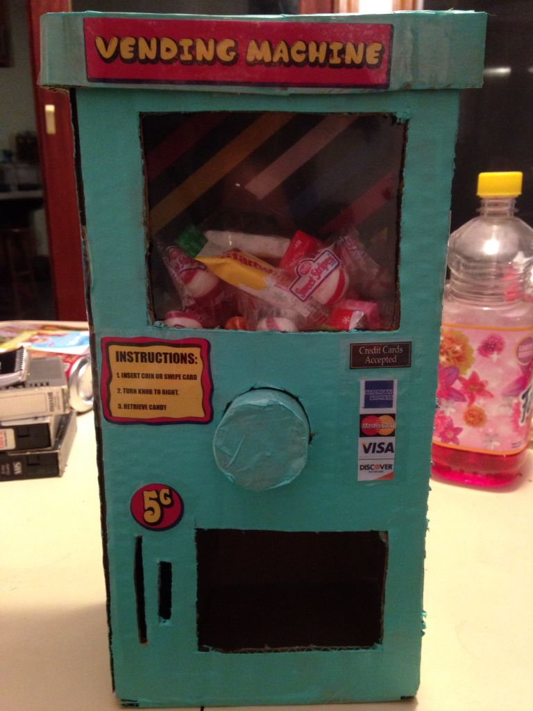 Cardboard Box Vending Machine Vending Machine Diy Cardboard Box Crafts Vending Machine